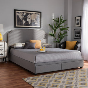 Baxton Studio Larese Light Grey Fabric Upholstered 2-Drawer Queen Size Platform Storage Bed