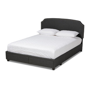 Baxton Studio Larese Dark Grey Fabric Upholstered 2-Drawer King Size Platform Storage Bed Baxton Studio-beds-Minimal And Modern - 1