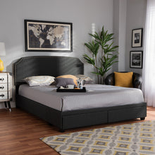 Baxton Studio Larese Dark Grey Fabric Upholstered 2-Drawer King Size Platform Storage Bed