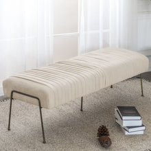 Merritt Velvet Fabric Pleated Bench by New Pacific Direct - 9900030