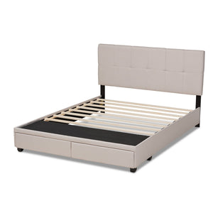 Baxton Studio Netti Beige Fabric Upholstered 2-Drawer King Size Platform Storage Bed