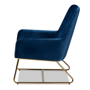 Baxton Studio Sennet Glam and Luxe Navy Blue Velvet Fabric Upholstered Gold Finished Armchair