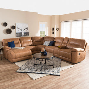Baxton Studio Mistral Modern and Contemporary Light Brown Palomino Suede 6-Piece Sectional with Recliners Corner Lounge Suite  Baxton Studio-sectionals-Minimal And Modern - 1