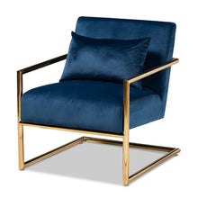 Baxton Studio Mira Glam and Luxe Navy Blue Velvet Fabric Upholstered Gold Finished Metal Lounge Chair Baxton Studio- Chairs-Minimal And Modern - 1