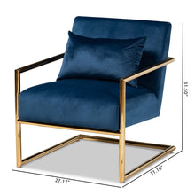 Baxton Studio Mira Glam and Luxe Navy Blue Velvet Fabric Upholstered Gold Finished Metal Lounge Chair