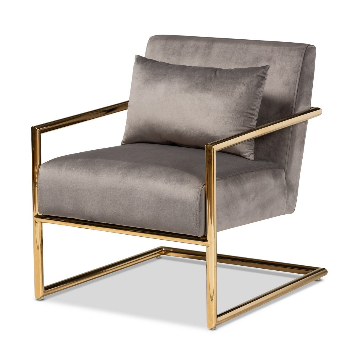 Baxton Studio Mira Glam and Luxe Grey Velvet Fabric Upholstered Gold Finished Metal Lounge Chair Baxton Studio- Chairs-Minimal And Modern - 1