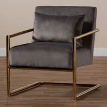 Baxton Studio Mira Glam and Luxe Grey Velvet Fabric Upholstered Gold Finished Metal Lounge Chair