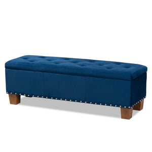 Baxton Studio Hannah Modern and Contemporary Navy Blue Velvet Fabric Upholstered Button-Tufted Storage Ottoman Bench Baxton Studio- Ottomans-Minimal And Modern - 1