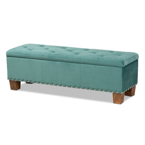Baxton Studio Hannah Modern and Contemporary Teal Blue Velvet Fabric Upholstered Button-Tufted Storage Ottoman Bench Baxton Studio- Ottomans-Minimal And Modern - 1