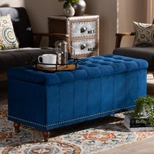 Baxton Studio Kaylee Modern and Contemporary Navy Blue Velvet Fabric Upholstered Button-Tufted Storage Ottoman Bench