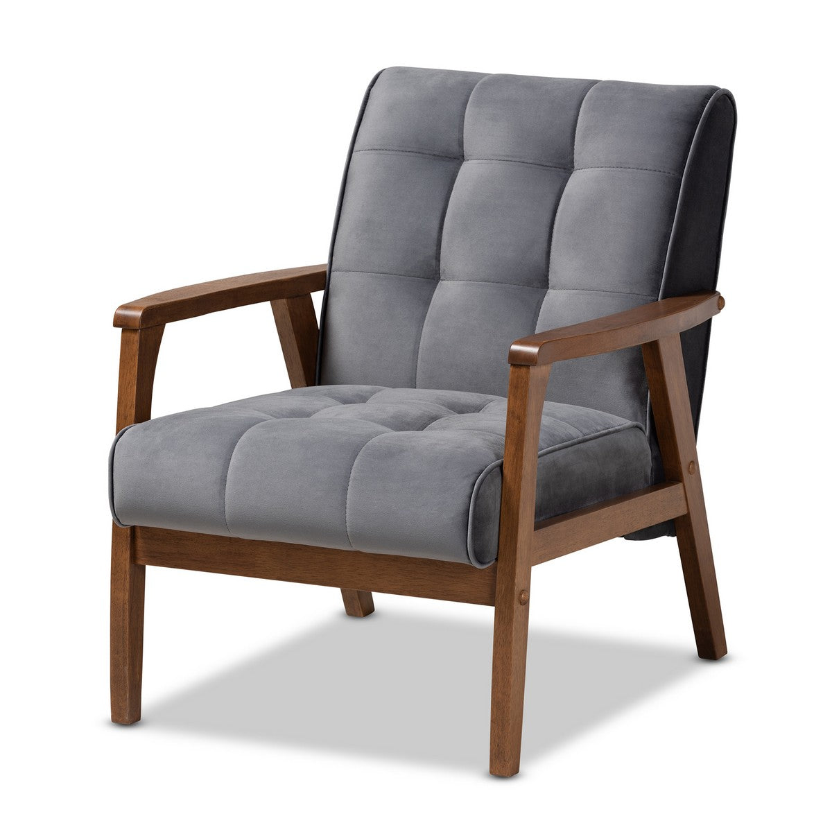 Baxton Studio Asta Mid-Century Modern Grey Velvet Fabric Upholstered Walnut Finished Wood Armchair Baxton Studio- Chairs-Minimal And Modern - 1