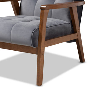 Baxton Studio Asta Mid-Century Modern Grey Velvet Fabric Upholstered Walnut Finished Wood Armchair