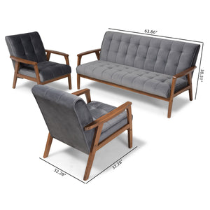 Baxton Studio Asta Mid-Century Modern Grey Velvet Fabric Upholstered Walnut Finished Wood 3-Piece Living Room Set