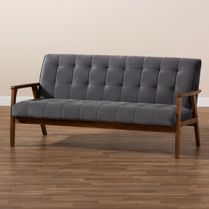 Baxton Studio Asta Mid-Century Modern Grey Velvet Fabric Upholstered Walnut Finished Wood Sofa