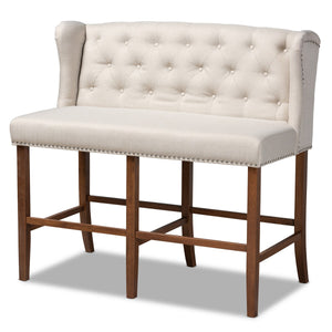 Baxton Studio Alira Modern and Contemporary Beige Fabric Upholstered Walnut Finished Wood Button Tufted Bar Stool Bench Baxton Studio- Bar Stools-Minimal And Modern - 1