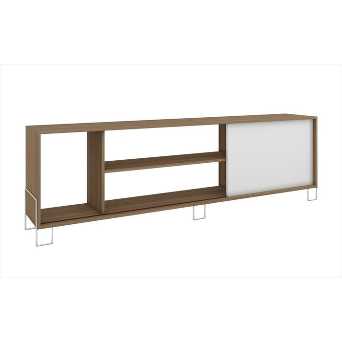 Accentuations by Manhattan Comfort Eye- catching Nacka TV Stand 1.0 with 4 Shelves and 1 Sliding Door in an Oak Frame with a White Door and Feet Manhattan Comfort-Stands and Side Tables- - 1