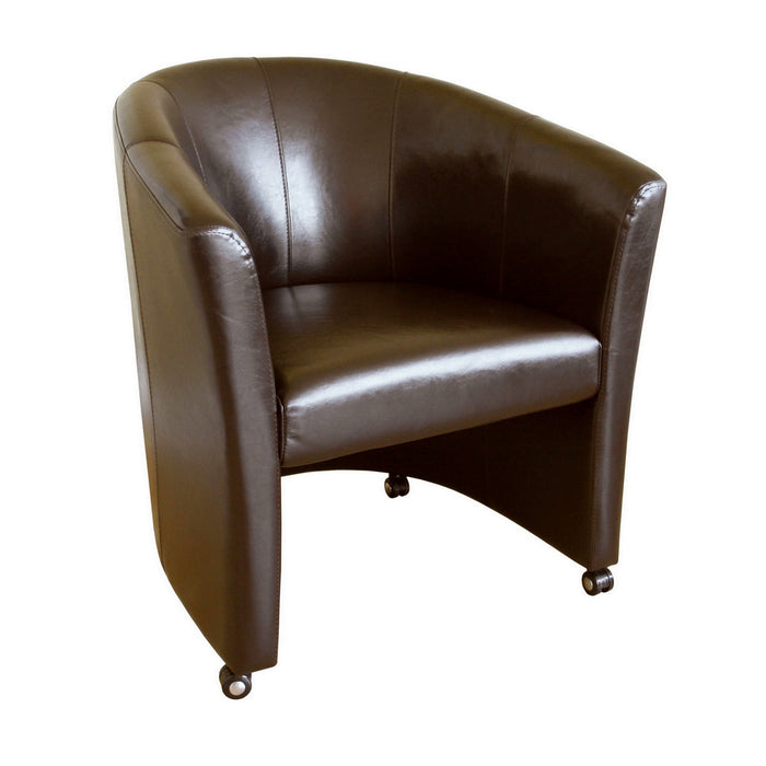 Baxton Studio Full Leather Club Chair with Wheels Baxton Studio-chairs-Minimal And Modern - 1