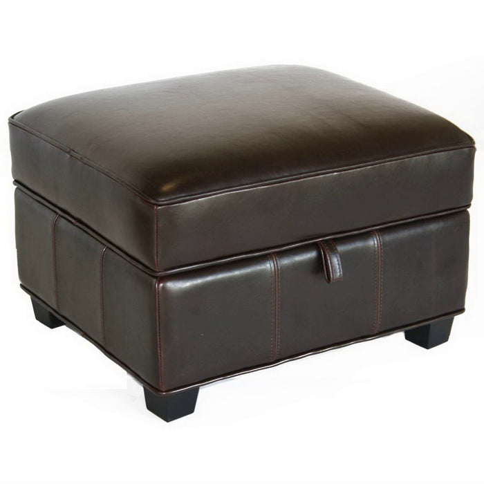 Baxton Studio Agustus Brown Leather Storage Ottoman  Baxton Studio-ottomans-Minimal And Modern - 1