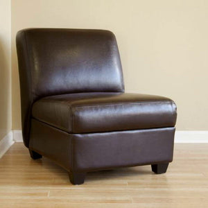 Baxton Studio Dark Brown Armless Club Chair Baxton Studio-chairs-Minimal And Modern - 1