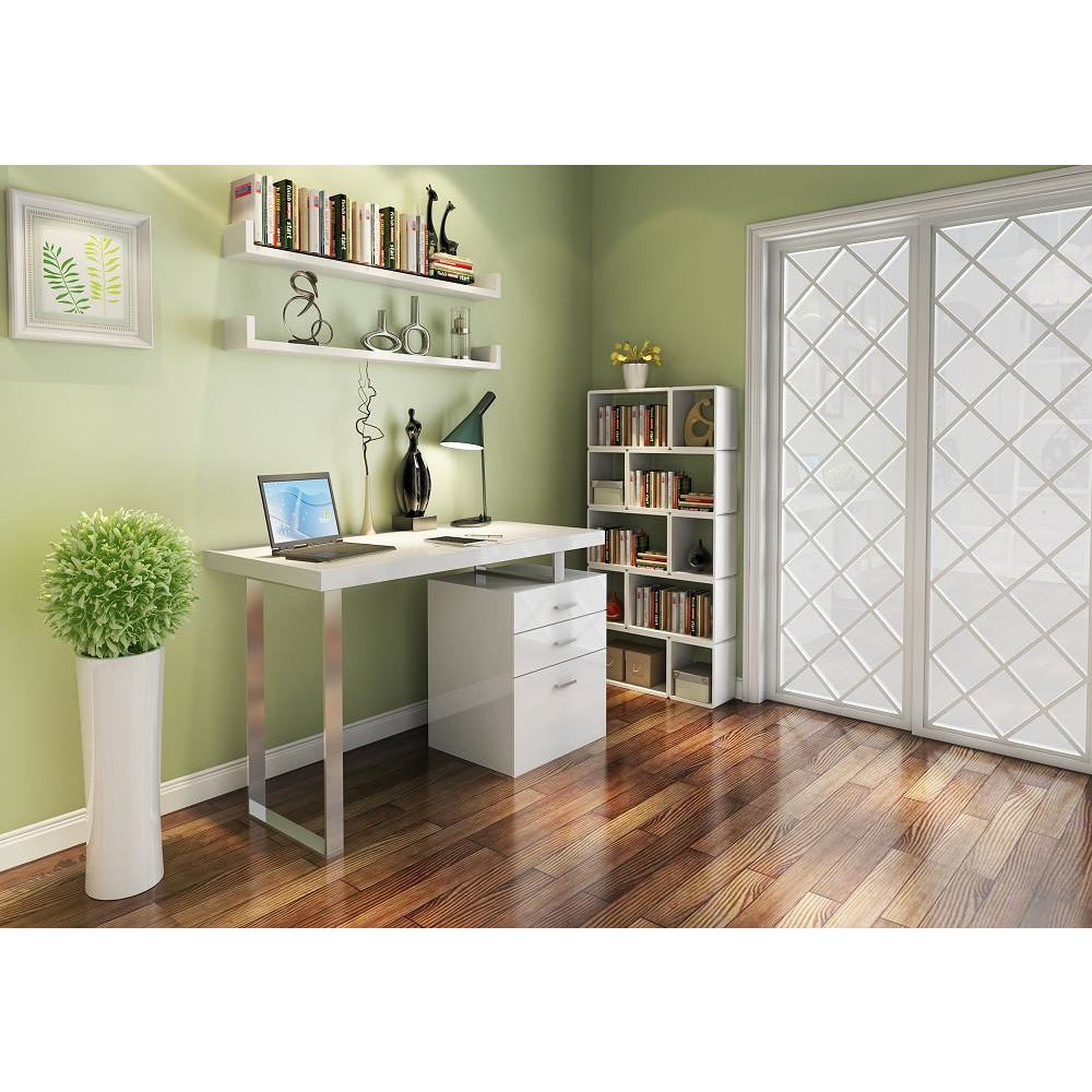 J&M Furniture Modern White and Metal Contemporary Writing Work Computer A18 Office Desk-Minimal & Modern