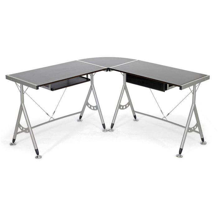 Baxton Studio Elburn Dark Brown L-Shaped Modern Computer Desk Baxton Studio-Desks-Minimal And Modern - 1