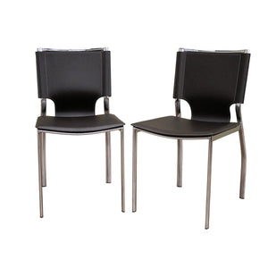 Baxton Studio Dark Brown Leather Dining Chair with Chrome Frame (Set of 2) Baxton Studio-dining chair-Minimal And Modern - 1
