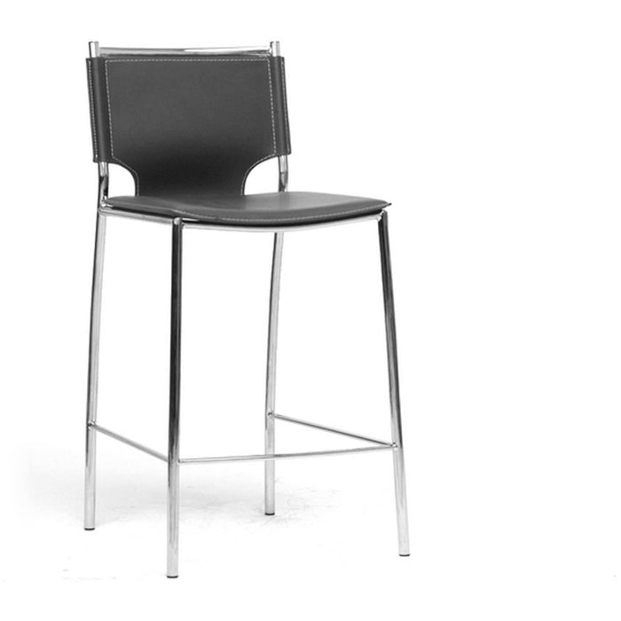 Baxton Studio Montclare Modern and Contemporary Black Bonded Leather Upholstered Modern Counter Stool (Set of 2) Baxton Studio-Bar Stools-Minimal And Modern - 1