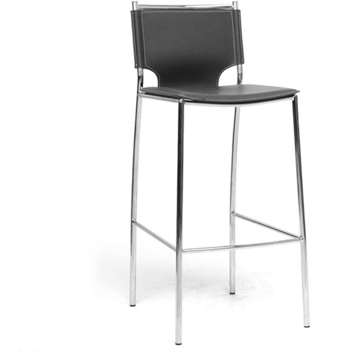 Baxton Studio Montclare Modern and Contemporary Black Bonded Leather Upholstered Modern Bar Stool (Set of 2) Baxton Studio-Bar Stools-Minimal And Modern - 1