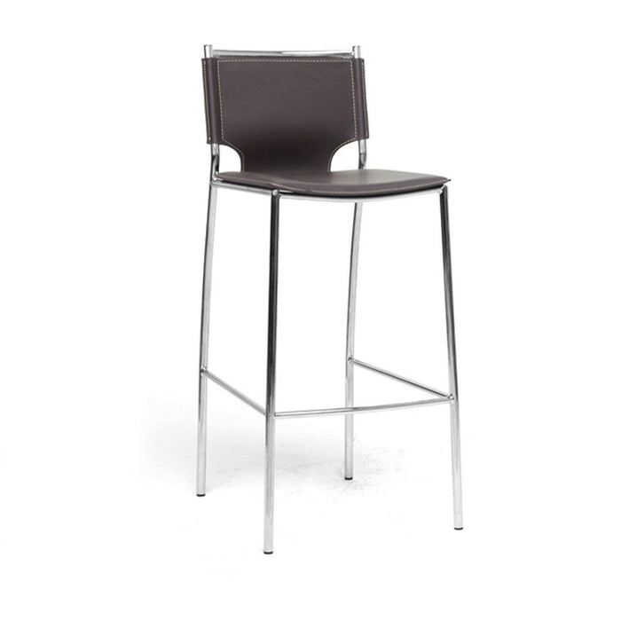 Baxton Studio Montclare Modern and Contemporary Brown Bonded Leather Upholstered Modern Bar Stool (Set of 2) Baxton Studio-Bar Stools-Minimal And Modern - 1