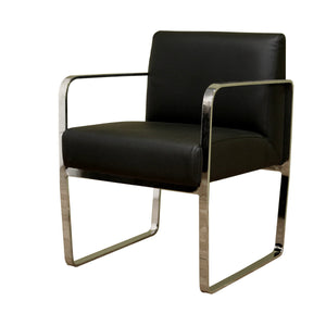 Baxton Studio Meg Black Leather Chair Baxton Studio-office chairs-Minimal And Modern - 1