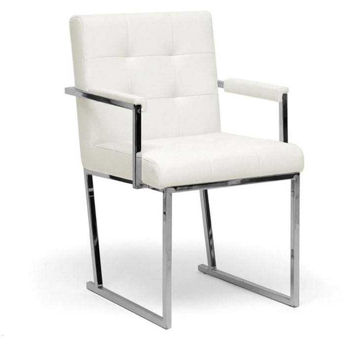 Baxton Studio Collins Ivory Mid-Century Modern Accent Chair Baxton Studio-dining chair-Minimal And Modern - 1