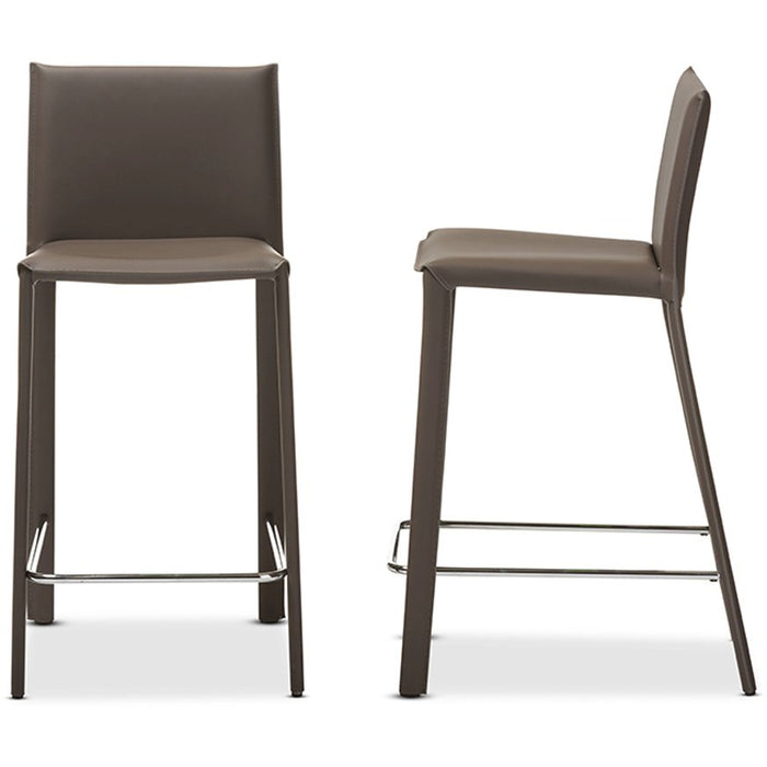 Baxton Studio Crawford Modern and Contemporary Taupe Leather Upholstered Counter Height Stool (Set of 2) Baxton Studio-Bar Stools-Minimal And Modern - 1