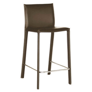 Baxton Studio Crawford Brown Leather Counter Height Stool (Set of 2) Baxton Studio-Bar Stools-Minimal And Modern - 1