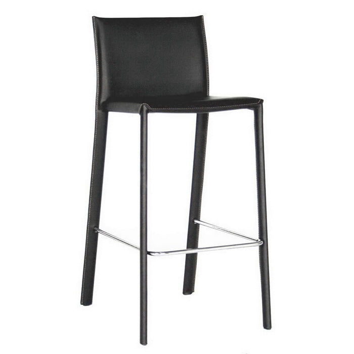 Baxton Studio Crawford Black Leather Bar Stool (Set of 2) Baxton Studio-Bar Stools-Minimal And Modern - 1