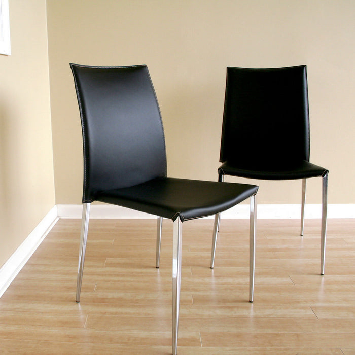 Baxton Studio Benton Black Leather Dining Chair (Set of 2) Baxton Studio-dining chair-Minimal And Modern - 1