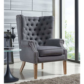 TOV Furniture Modern Abe Grey Linen Wing Chair TOV-A2040