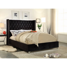 Meridian Furniture Aiden Black Velvet King Bed-Minimal & Modern