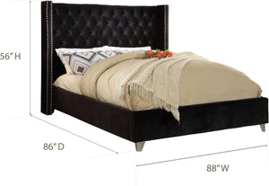 Meridian Furniture Aiden Black Velvet King Bed