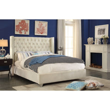Meridian Furniture Aiden Cream Velvet Queen Bed-Minimal & Modern