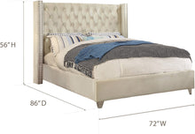 Meridian Furniture Aiden Cream Velvet Queen Bed