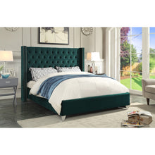 Meridian Furniture Aiden Green Velvet Queen Bed-Minimal & Modern