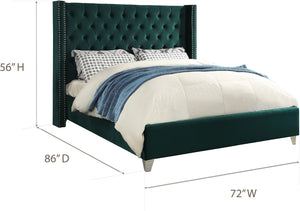 Meridian Furniture Aiden Green Velvet Queen Bed