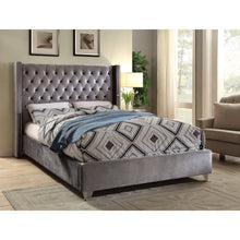 Meridian Furniture Aiden Grey Velvet Queen Bed-Minimal & Modern