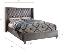 Meridian Furniture Aiden Grey Velvet Queen Bed