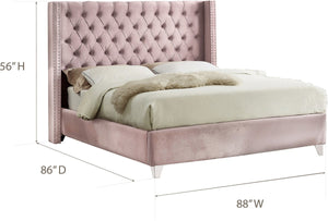 Meridian Furniture Aiden Pink Velvet King Bed