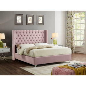 Meridian Furniture Aiden Pink Velvet Queen Bed-Minimal & Modern