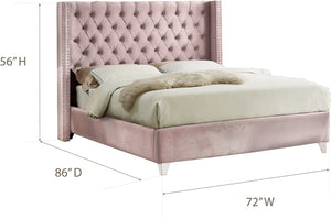 Meridian Furniture Aiden Pink Velvet Queen Bed