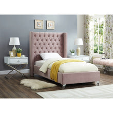Meridian Furniture Aiden Pink Velvet Twin Bed-Minimal & Modern