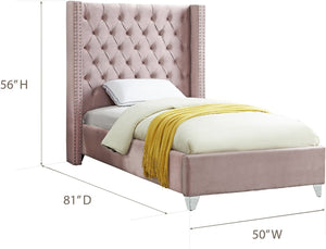 Meridian Furniture Aiden Pink Velvet Twin Bed