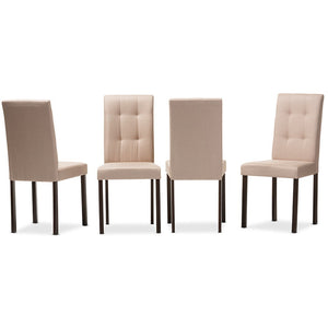 Baxton Studio Andrew Modern and Contemporary Beige Fabric Upholstered Grid-tufting Dining Chair (Set of 4) Baxton Studio-dining chair-Minimal And Modern - 1